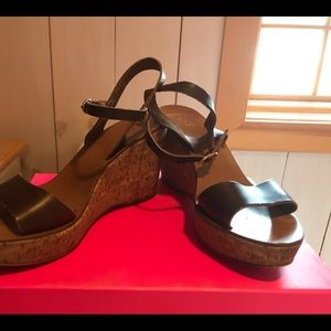 J Crew, brown leather cork wedges, size 8